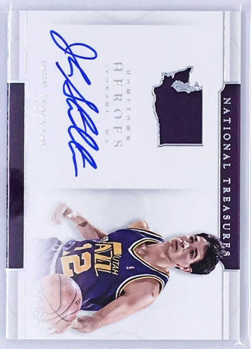 16-17 National Treasures JOHN STOCKTON Hometown Heroes Auto 19/35-Cherry Collectables