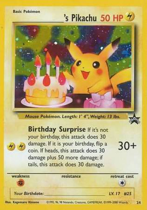 Birthday Pikachu - 24 - Holo Rare-Cherry Collectables