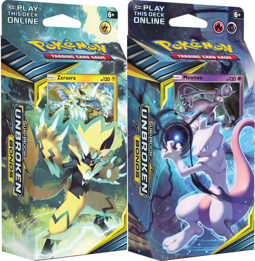 Pokemon TCG Sun & Moon Unbroken Bonds Theme Deck Combo - Mewtwo & Zeraora (Pre Order May)-Cherry Collectables