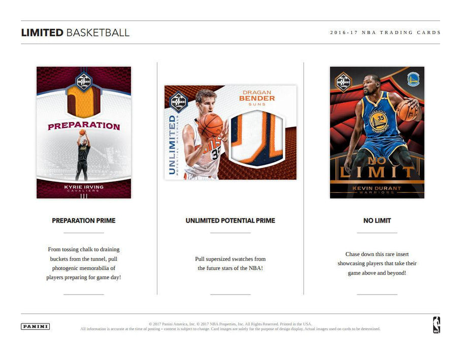 2016/17 Panini Limited Basketball Hobby Box-Cherry Collectables