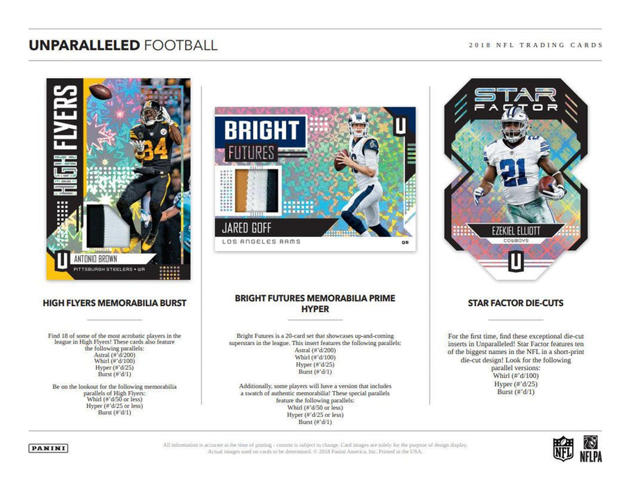 2018 Panini Unparalleled Football Hobby Box-Cherry Collectables