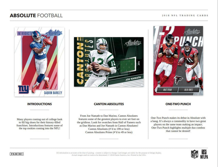 2018 Panini Absolute Football Hobby Box-Cherry Collectables