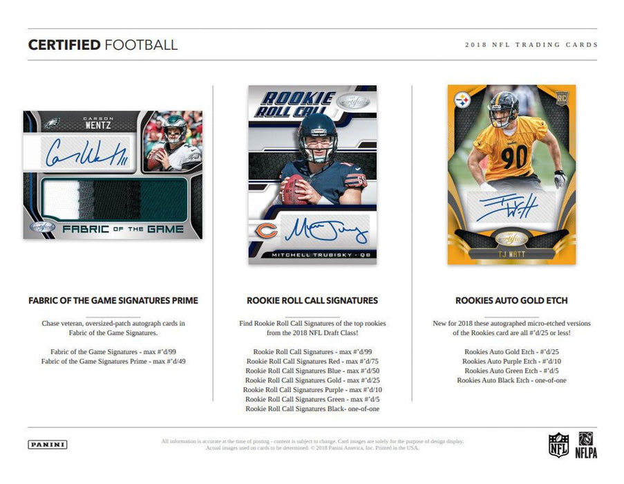 2018 Panini Certified Football Hobby Box-Cherry Collectables