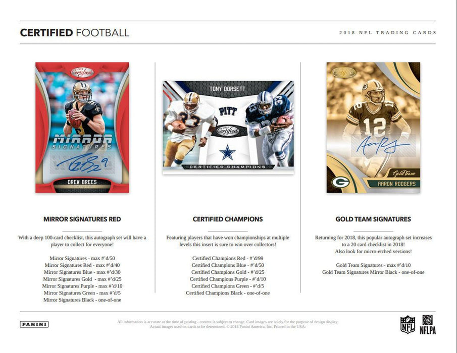 2018 Panini Certified Football Hobby Pack-Cherry Collectables