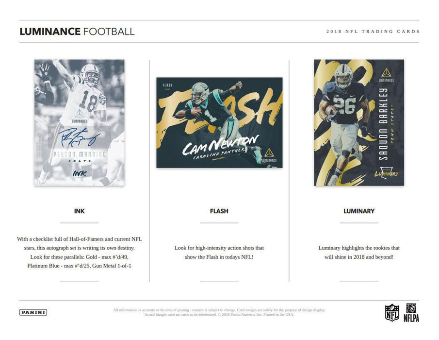 2018 Panini Luminance Football Hobby Box-Cherry Collectables