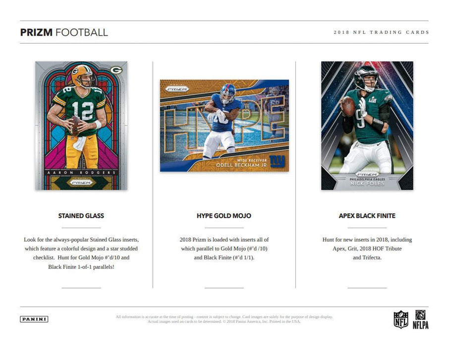 2018 Panini Prizm Football Hobby Box-Cherry Collectables