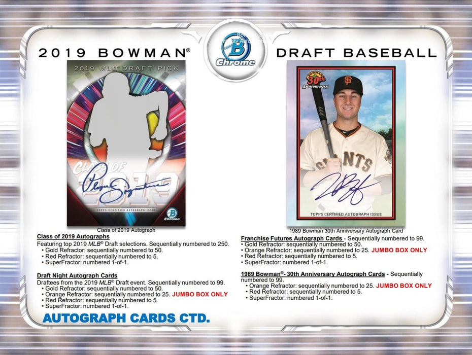 2019 Topps Bowman Draft Baseball Hobby Jumbo Box-Cherry Collectables