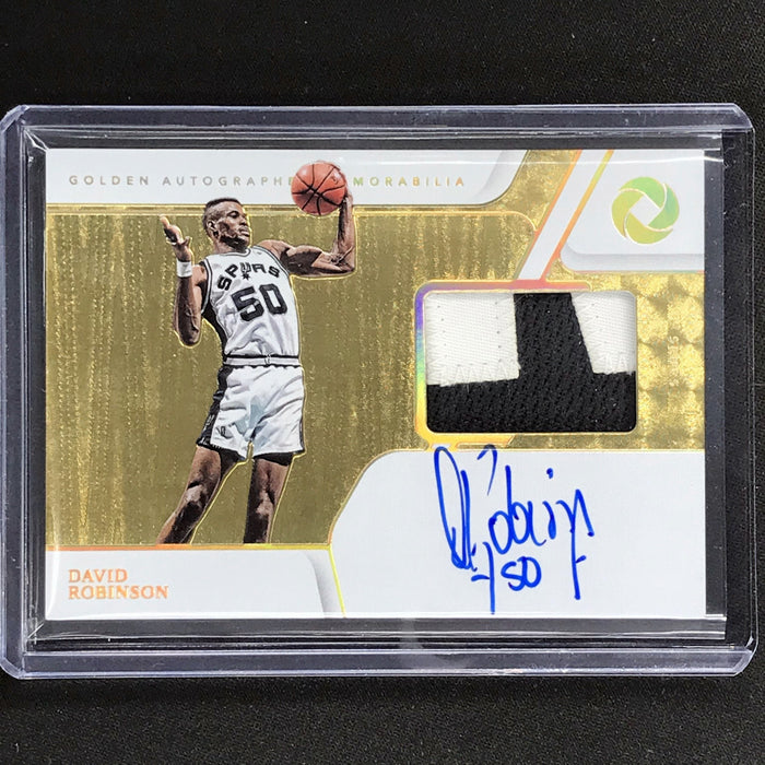 2019-20 Opulence DAVID ROBINSON Golden Autographs Patch Auto 4/5-Cherry Collectables