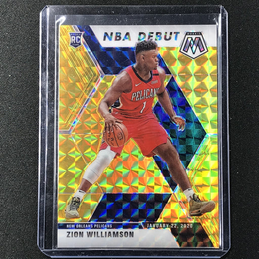 2019-20 Mosaic ZION WILLIAMSON NBA Debut Gold Mosaic Prizm Rookie 10/10 #269-Cherry Collectables