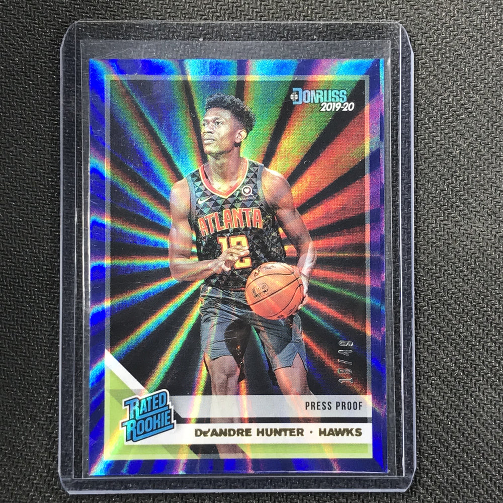 2019-20 Donruss DE'ANDRE HUNTER Press Proof Rookie Blue 18/49-Cherry Collectables