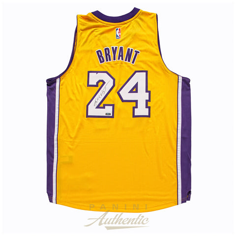 Kobe Bryant Panini Authentic Autographed Gold Adidas Swingman Jersey-Cherry Collectables