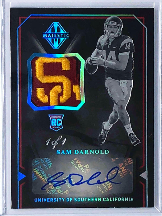 2018 Majestic SAM DARNOLD Rookie Patch Auto USC RC Blue 1/1-Cherry Collectables