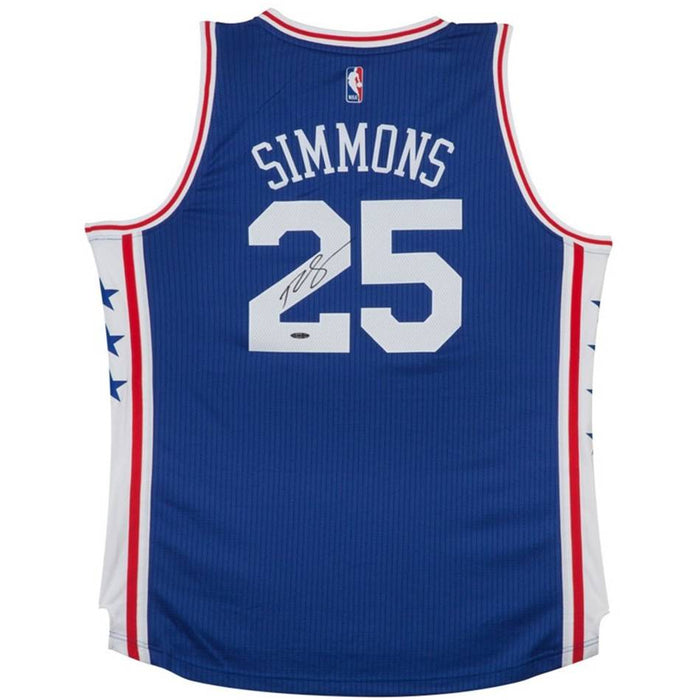Ben Simmons Upper Deck Authenticated Autographed Blue Adidas Swingman Jersey-Cherry Collectables