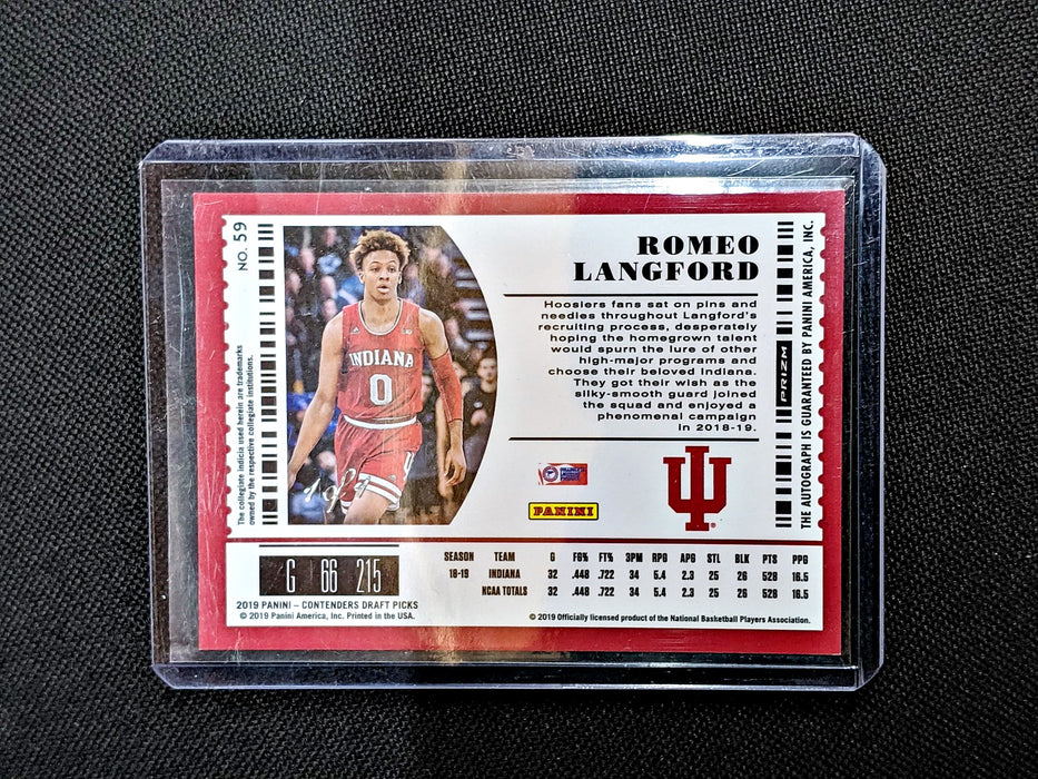 2019 Contenders Draft Picks ROMEO LANGFORD Optic Auto Black 1/1-Cherry Collectables