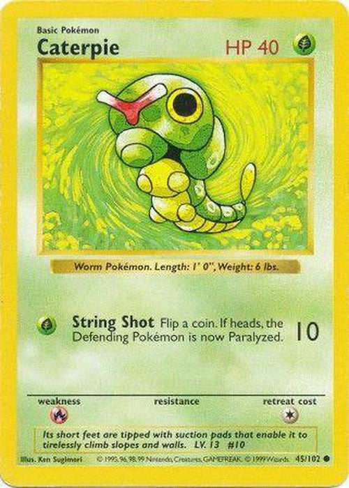 Caterpie - 45/102 - Common Shadowless-Cherry Collectables