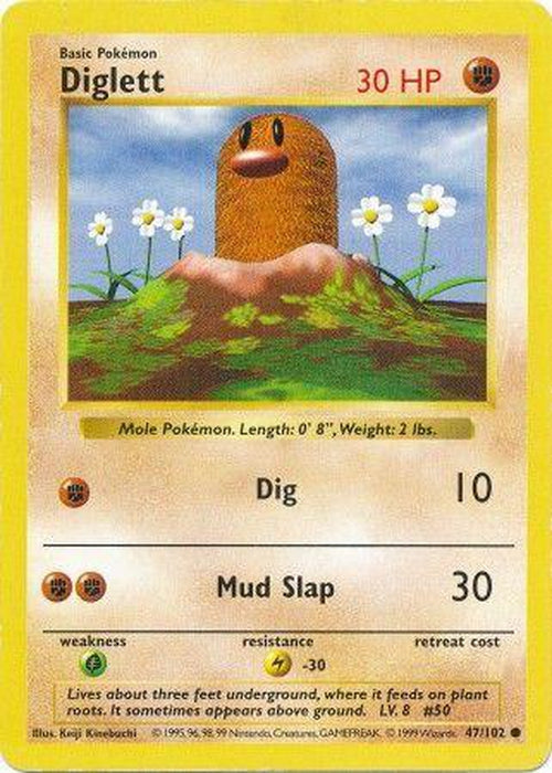 Diglett - 47/102 - Common Shadowless-Cherry Collectables