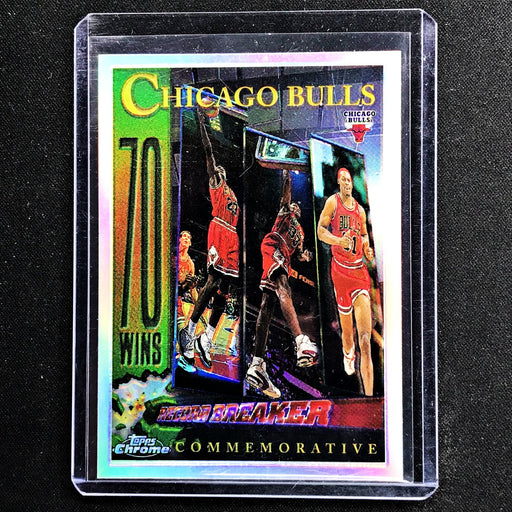 1996-97 Topps Chrome CHICAGO BULLS 70 Wins Record Breaker JORDAN Refractor #72-Cherry Collectables