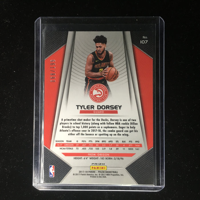 17-18 Prizm TYLER DORSEY RC Rookie Blue 68/199-Cherry Collectables