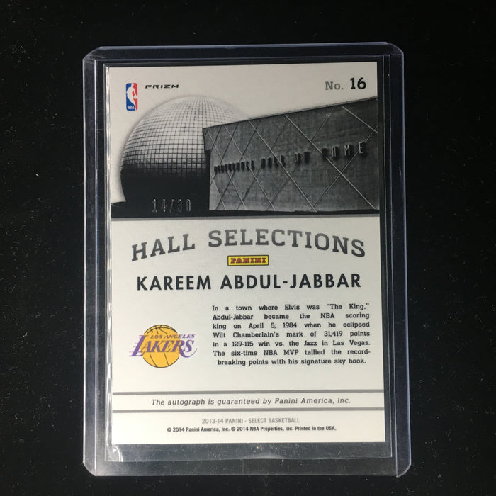 13-14 Select KAREEM ABDUL-JABBAR Hall Selections Auto Purple /30-Cherry Collectables