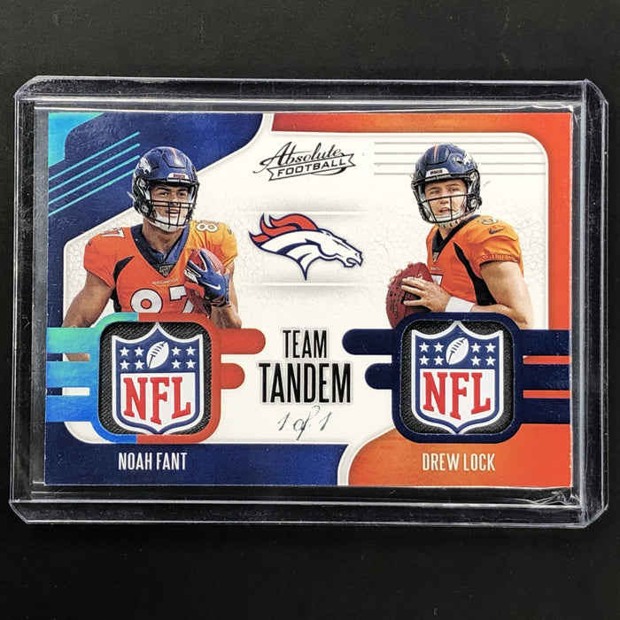 2019 Absolute NOAH FANT DREW LOCK Tandems NFL Shield Tag 1/1-Cherry Collectables