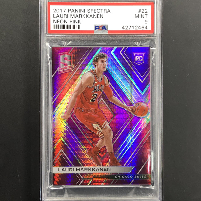 2017-18 Spectra LAURI MARKKANEN Pink Rookie Auto 8/25 PSA 9-Cherry Collectables