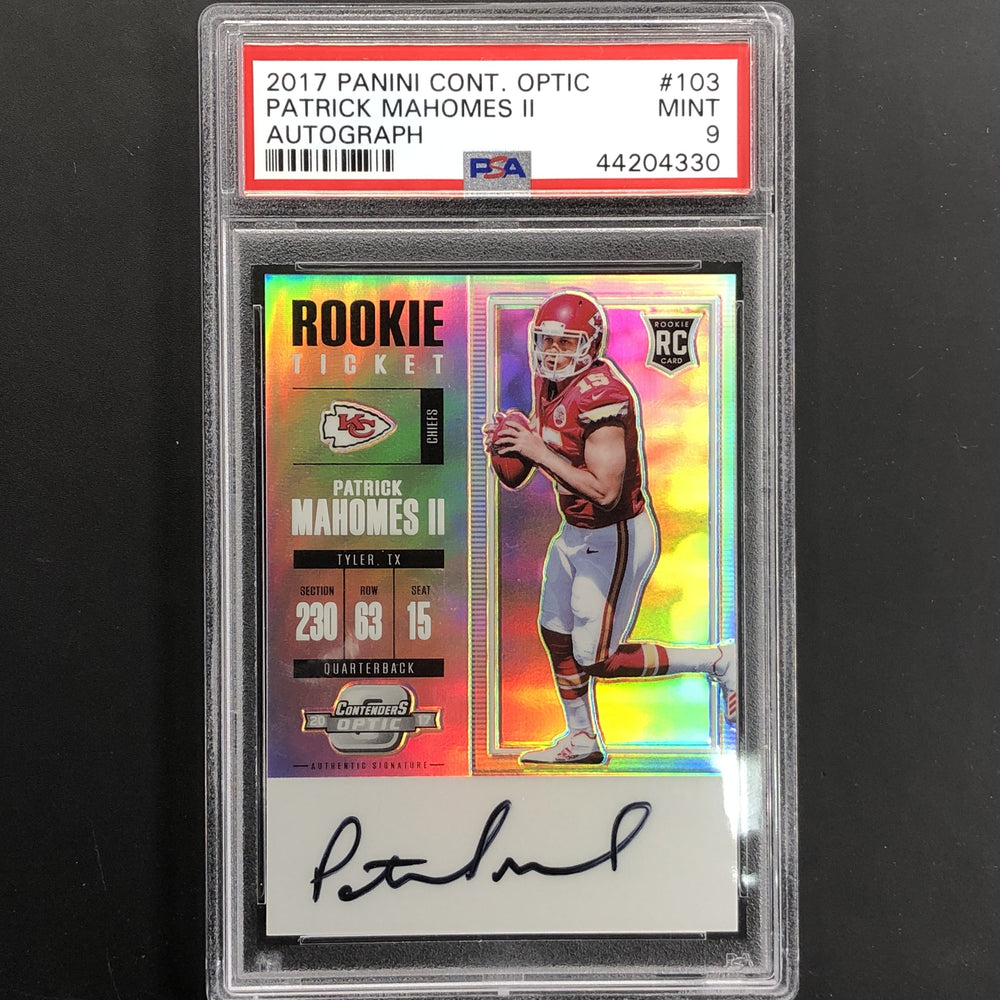 2017 Contenders Optic PATRICK MAHOMES Rookie Ticket Auto PSA 9-Cherry Collectables