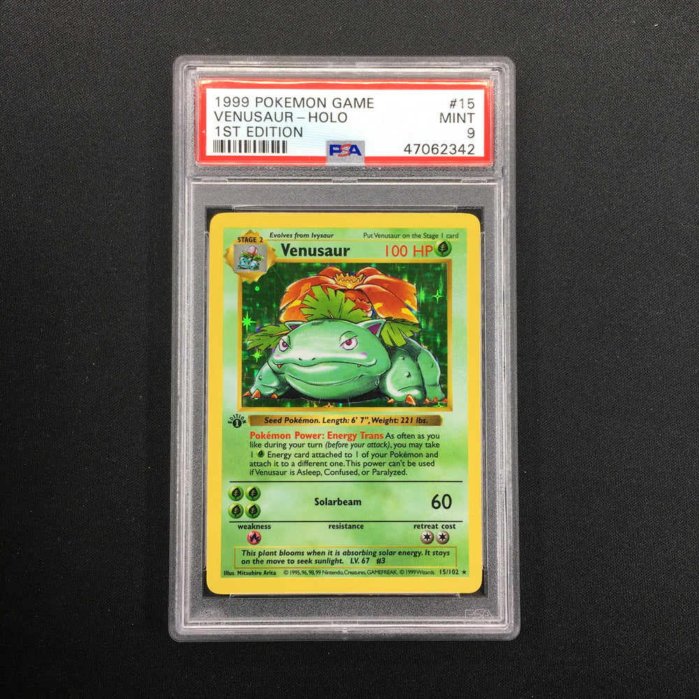 PSA 9 MINT Venusaur - 15/102 - Holo - Base Set Shadowless 1st Edition-Cherry Collectables