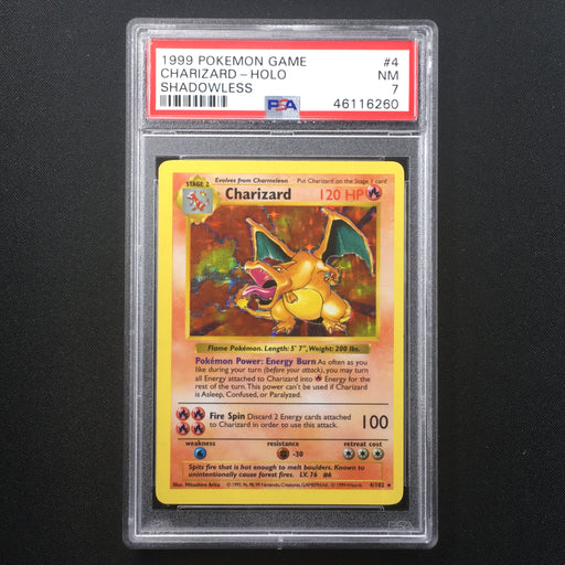 PSA 7 NEAR MINT Charizard - 4/102 - Holo Rare Shadowless-Cherry Collectables