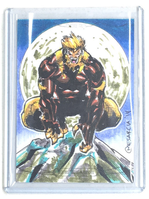 2016 Marvel Masterpieces SABRETOOTH Sketch by CYRUS MESARCIA-Cherry Collectables
