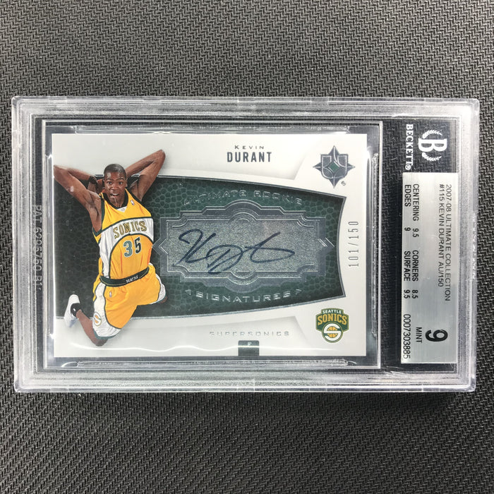 2007-08 Ultimate Collection KEVIN DURANT Rookie Auto 101/150 BGS 9/10-Cherry Collectables
