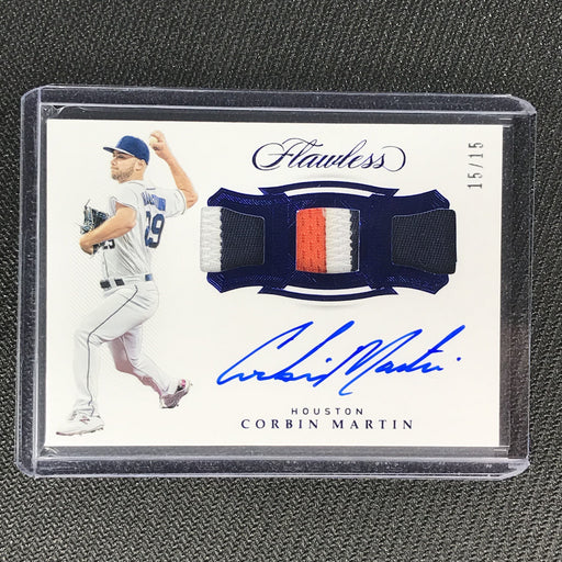 2019 Flawless CORBIN MARTIN Triple Relic Auto Sapphire Blue 15/15-Cherry Collectables