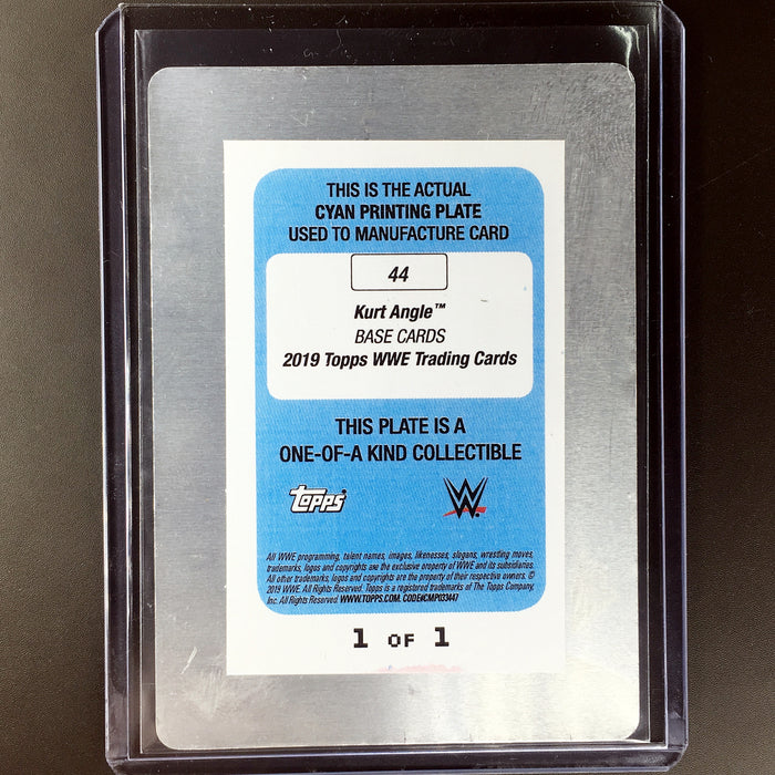 2019 Topps WWE Raw KURT ANGLE 1/1 Printing Plate Cyan #44-Cherry Collectables