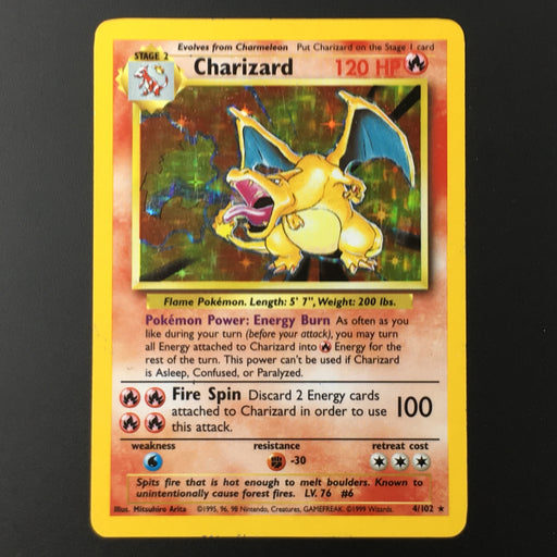 Charizard - 4/102 - Holo Rare Unlimited MP-Cherry Collectables