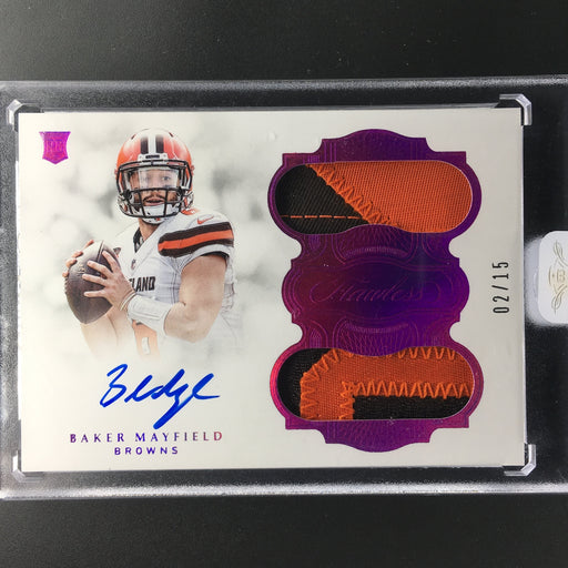 2018 Flawless BAKER MAYFIELD Rookie Patch Auto Purple 2/15-Cherry Collectables
