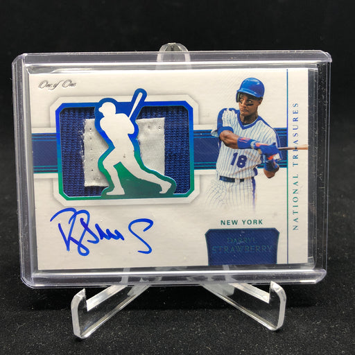 2018 National Treasures DARRYL STRAWBERRY Silhouette Patch Auto 1/1-Cherry Collectables