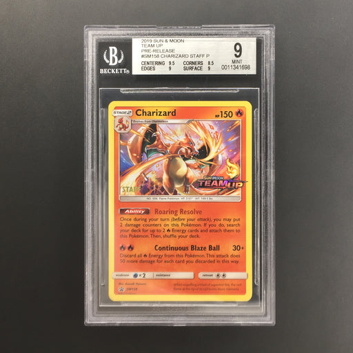 Charizard - SM158 - Team Up Prerelease STAFF Promo BGS 9 Mint-Cherry Collectables
