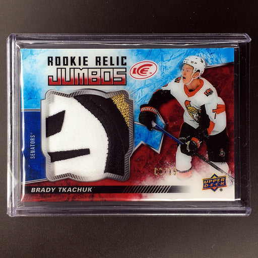 2018-19 UD Ice BRADY TKACHUK Rookie Jumbo Patch 8/15-Cherry Collectables