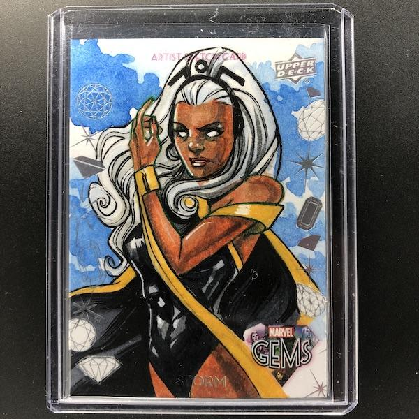 2016 Marvel Gems STORM Sketch Leon Braojos 1/1 GS-2-Cherry Collectables