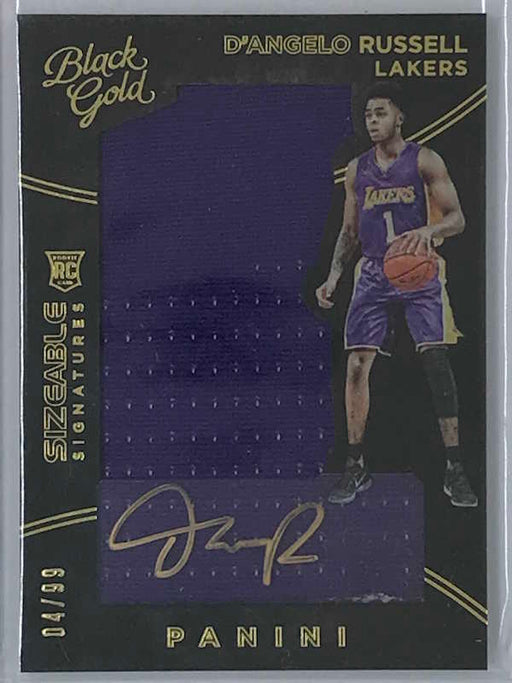 15-16 Black Gold D'ANGELO RUSSELL Sizeable Signatures Auto Jsy RC 04/99-Cherry Collectables