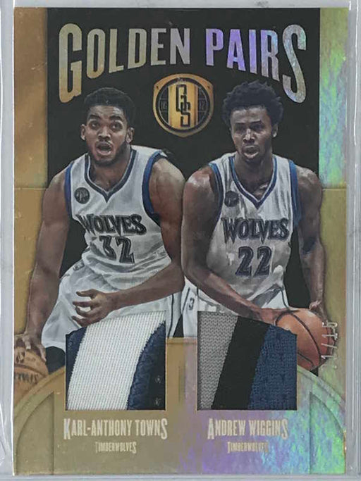 16-17 Gold Standard KARL ANTHONY TOWNS and WIGGINS Golden Pairs Jsy 1/15-Cherry Collectables