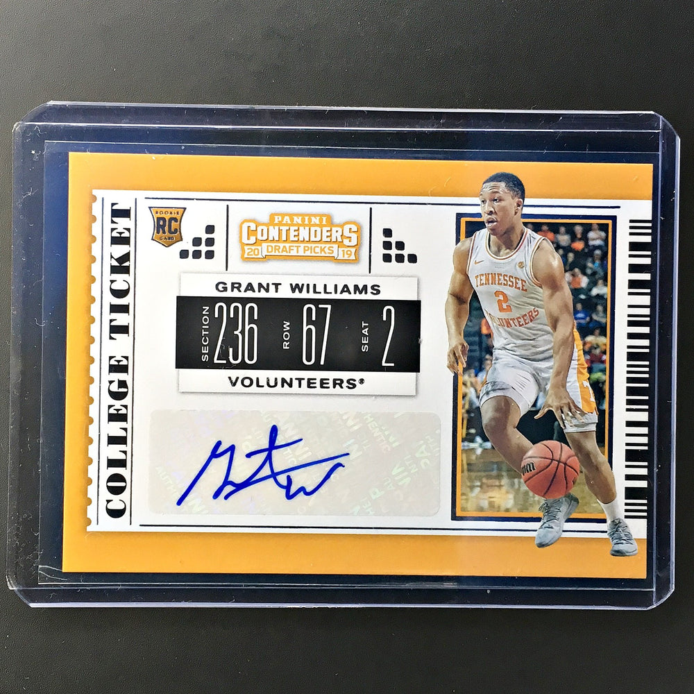 2019 Contenders Draft Picks GRANT WILLIAMS College Ticket Auto #75-Cherry Collectables
