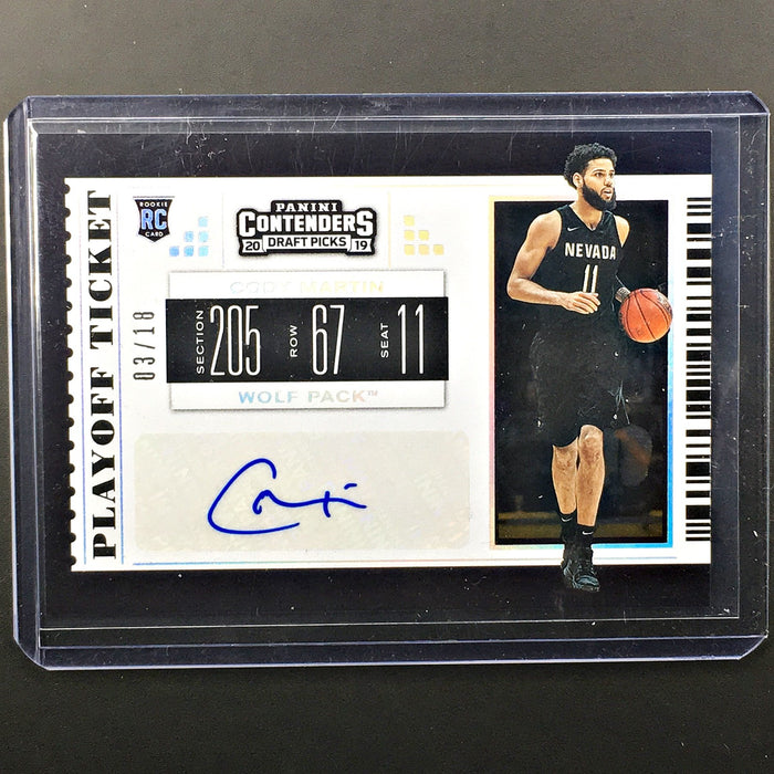 2019 Contenders Draft Picks CODY MARTIN Playoff Ticket Auto 3/18-Cherry Collectables