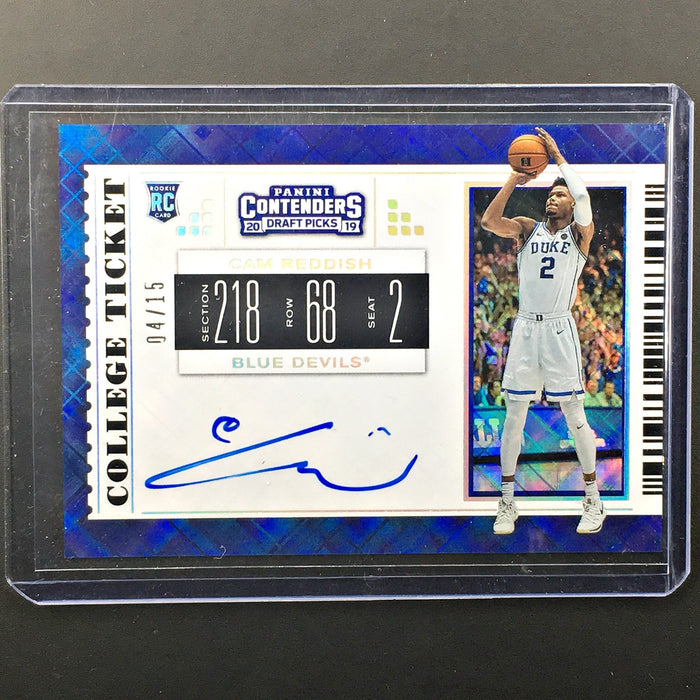 2019 Contenders Draft Picks CAM REDDISH College Ticket Auto 4/15-Cherry Collectables