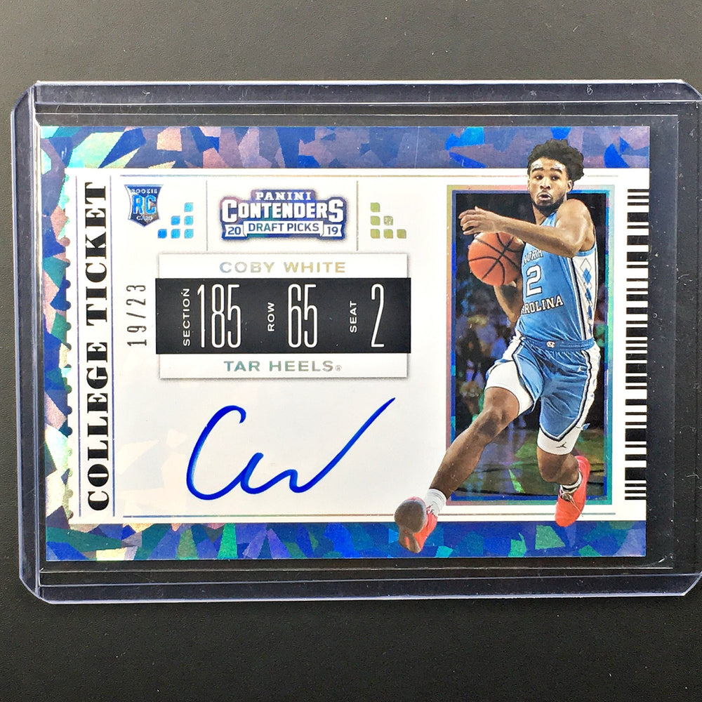 2019 Contenders Draft Picks COBY WHITE College Ticket Auto 19/23-Cherry Collectables