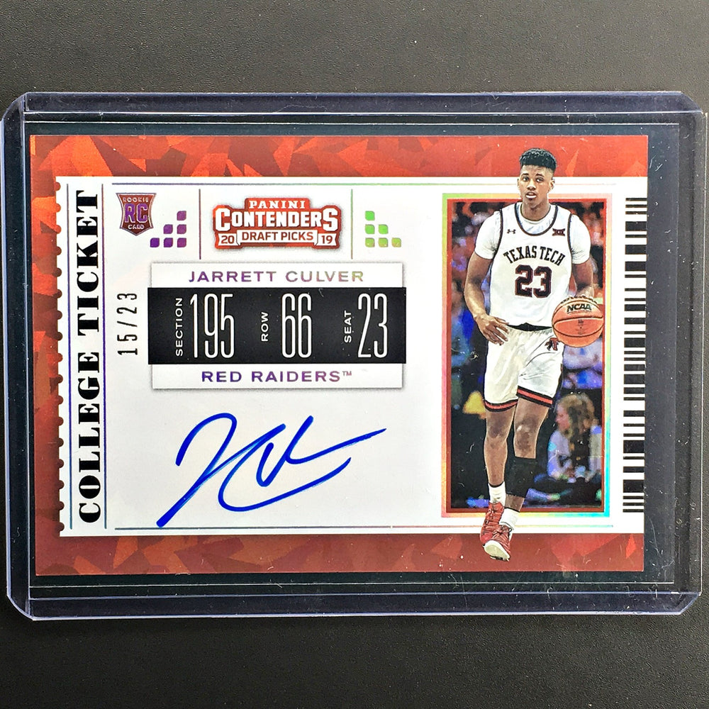 2019 Contenders Draft Picks JARRETT CULVER College Ticket Auto 15/23-Cherry Collectables