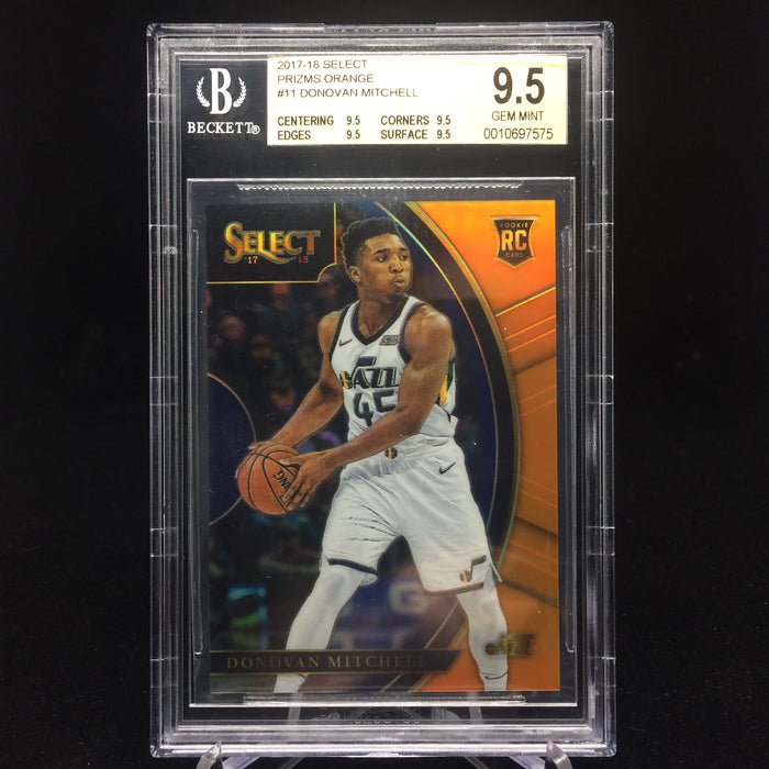 17-18 Select DONOVAN MITCHELL RC Prizm Orange /75 BGS 9.5-Cherry Collectables