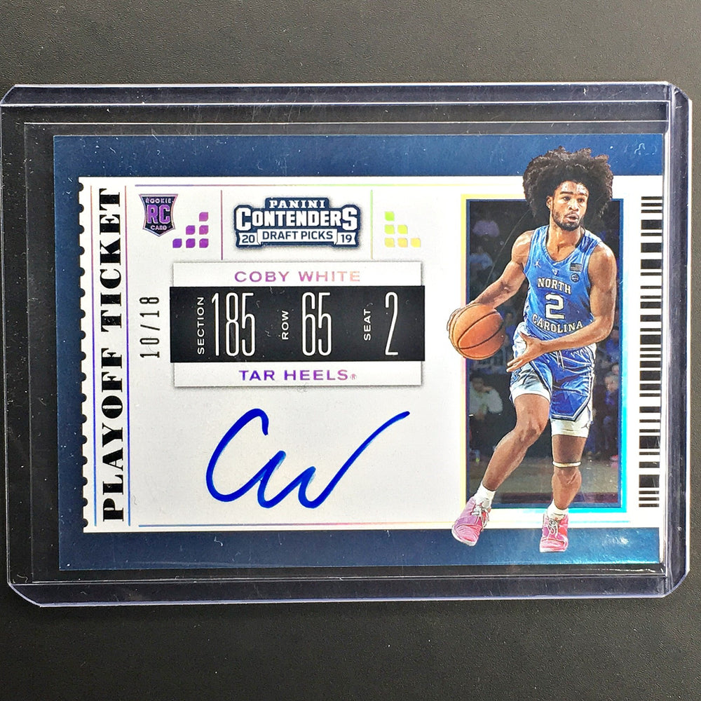 2019 Contenders Draft Picks COBY WHITE Playoff Ticket Auto 10/18-Cherry Collectables