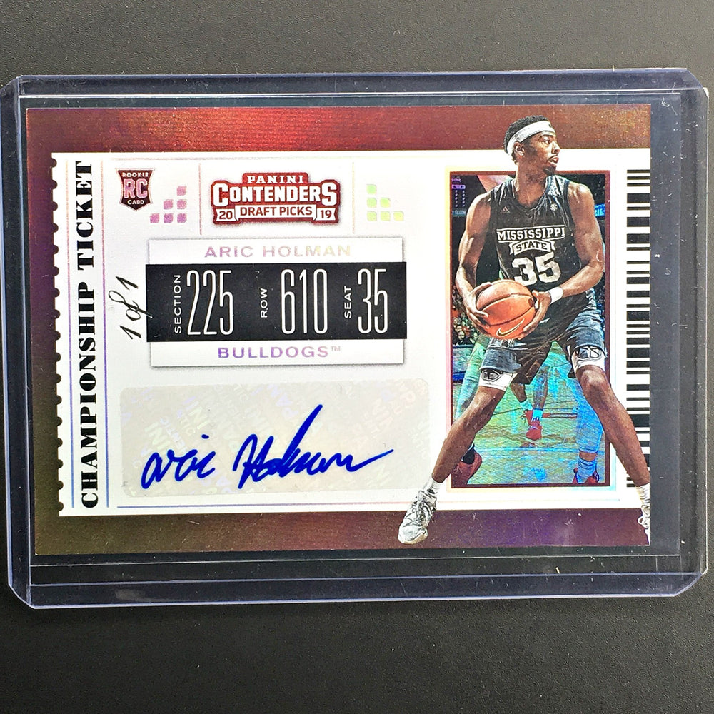 2019 Contenders Draft Picks ARIC HOLMAN Championship Ticket Auto 1/1-Cherry Collectables
