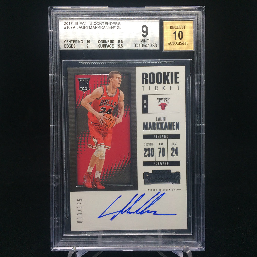 17-18 Contenders LAURI MARKKANEN RC Rookie Ticket Auto /125 BGS 9/10-Cherry Collectables
