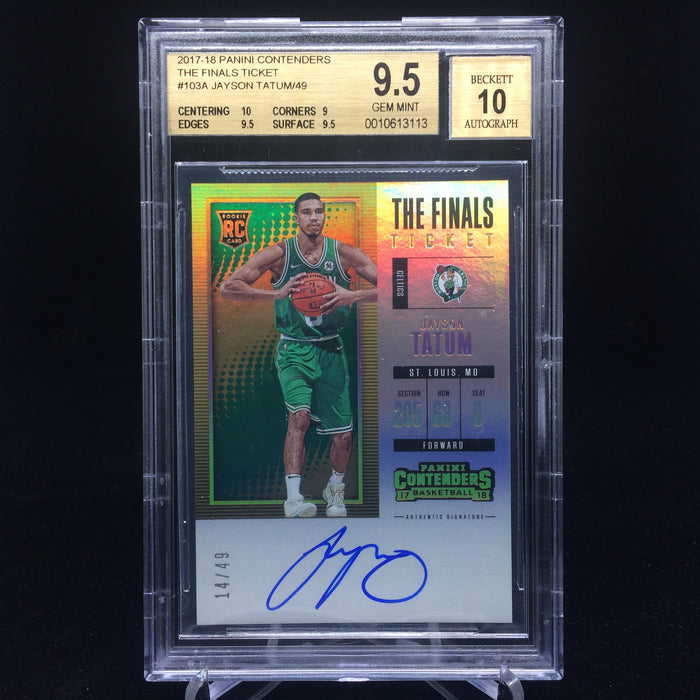 17-18 Contenders JAYSON TATUM RC Finals Ticket Auto /49 BGS 9.5/10-Cherry Collectables